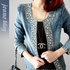 awesome Free of charge Delivery Ladies informal denim coat woman classic denim jeans coat gemstone paillette ladies denim layer woman motorbike coat Denim Mantel, Denim And Diamonds, Mode Jeans, Denim Crafts, Clothes Refashion, Altered Couture, Denim Patchwork, Recycled Denim, Denim Outfits