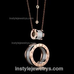 Bvlgari B.Zero1 Pendant Necklace in Rose Gold Plated with White Ceramic