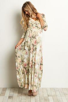 Ivory Floral Wrap Dress