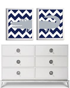 Nursery Girl Boy Art Alligator Chevron Grey Navy by ZeppiPrints, $40.00