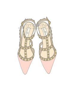 "More illustrations LINE BOTWIN ""girly illustrations"" #chic #fashion #girly #illustration Studded Heels Pink"" Fashion Illustration Art Print by emmakisstina"