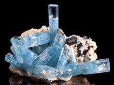 Aquamarine crystals on Albite with Schorl Tourmaline