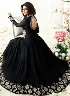 Jennifer Winget Black Faux Georgette Floor Length Anarkali Suit- looks like a kefta from shadow and bone series Trajes Anarkali, Anarkali Gown, Black Anarkali, Black Salwar Suit, Simple Anarkali, Black And Gold Lehenga, Anarkali Dress Pattern, Silk Anarkali Suits, Saree