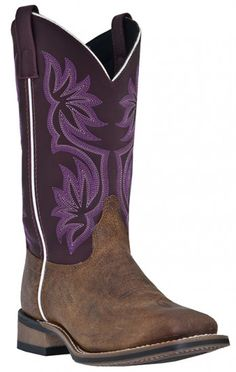 Laredo Mesquite Power Pack Vintage Tan/Purple MM Women's western boot