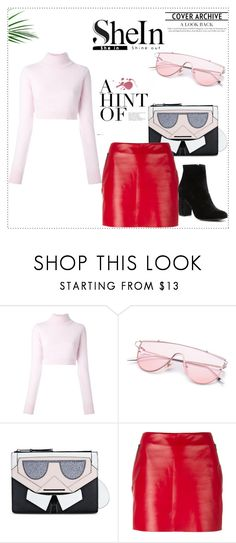 """""""SHEIN Pink Sunglasses"""" by zoe-keredy ❤ liked on Polyvore featuring Balmain, Karl Lagerfeld, Barbara Bui, Witchery, Pink, Sheinside, sunglasses and shein"""