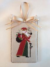 Finished Completed Cross Stitch Christmas Ornament Red Prairie Schooler Santa