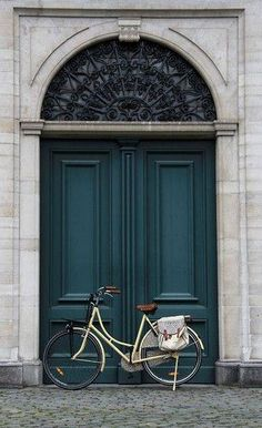Deep teal front door