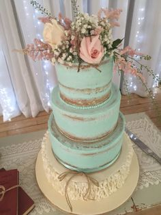 Semi naked wedding cake @ Sparkles Cakes of Art