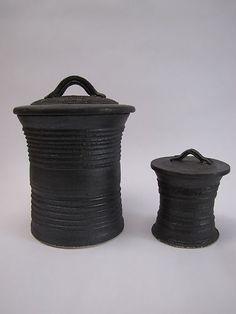 Studio pottery black stoneware lidded vessels in modernist style - Dameon Lynn | eBay