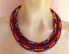 Multicolor Necklace/ African fabric necklace/ Orange by nad205