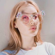 "70 Likes, 3 Comments - Ostentatious Accessories (@maude_studio) on Instagram: ""@georgahcrane wearing our Gradient Pink Crystal Cluster Sunglasses 💎 📸@jessbrohier"""