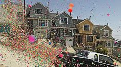 thousands of bouncy balls actually bounced all over the hills of san francisco for this shot