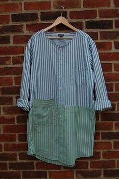 Clever Karen: Oxford Shirt Art Smocks - Tutorial Wouldn't combine those colors per Se but still, cool refashion shirt! Diy Clothing, Sewing Clothes, Sewing Coat, Dress Sewing, Diy Fashion, Ideias Fashion, Umgestaltete Shirts, Art Smock, Smocks