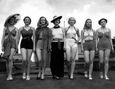 100 Years of Fashion 1936—These sunbathing beauties show off beach glamour in its original form.