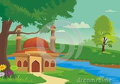 Illustration about Islamic cartoons, mosque with a backdrop of mountains and facing the river with a beautiful view, pretty and interesting. Illustration of ecology, forest, bushes - 76908341 Islamic Cartoon, Natural Scenery, Mountain View, Mosque, Ecology, Backdrops, Beautiful Places, Cartoons, River