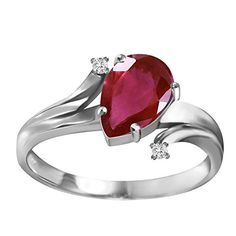 151 Carat 14k Solid White Gold Ring with Genuine Diamonds and Natural Pearshaped Ruby  Size 55 * Continue to the product at the image link.Note:It is affiliate link to Amazon.