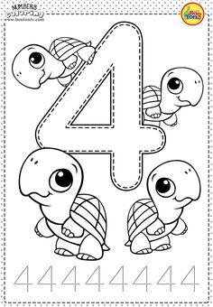Number 4 - Preschool Printables - Free Worksheets and Coloring Pages for Kids (Learning numbers, counting 1-10) - Broj 4 - Bojanke za djecu - brojevi, radni listovi BonTon TV #numbers #preschool #brojevi #coloringpages #worksheets #printables
