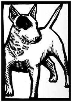 ORIGINEEL Artwork linosnede/linodruk handprinted Bull Terrier on Etsy, € Linocut Prints, Art Prints, Linoprint, Stencil, Art Graphique, Print Artist, Woodblock Print, Dog Art, Printmaking