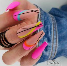 May Nails, Aycrlic Nails, Neon Nails, Hair And Nails, Minimalist Nails, Acrylic Nails Coffin Pink, Nail Candy, Fire Nails, Vacation Nails