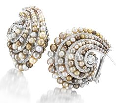 Viren Bhagat. A Pair of Fancy Grey Natural Pearl and Diamond Hoop Earrings Set in Platinum. Available Exclusively at FD. www.fd-inspired.com