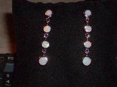 LOOK!!!!! A PRECIOUS PAIR OF SOLID STERLING SILVER WHITE FIRE OPAL TIERED EARRINGS