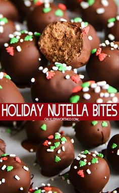 Holiday Nutella Bites are 3 ingredient truffles made with Nutella and coated in . - Holiday Nutella Bites are 3 ingredient truffles made with Nutella and coated in a hard chocolate sh - New Year's Desserts, Holiday Desserts, Holiday Baking, Holiday Treats, Holiday Decorations, Holiday Parties, Christmas Treat Gifts, Christmas Holiday, Healthy Christmas Treats