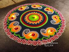 #mandala #kolam#orange#blue#red