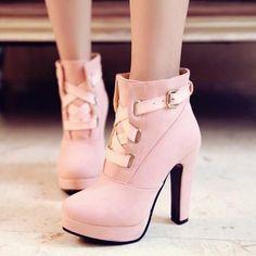 Criss Cross Kawaii Strap Pastel High Heel Ankle Boots SD00459
