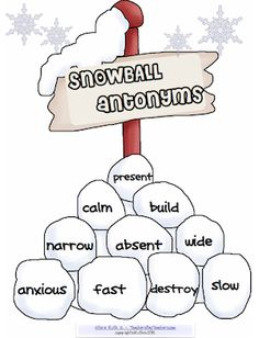 Snowball Antonyms is a hands on project. Students cut and paste the antonyms on snowballs and write sentences using some of the antonyms. This proj. Vocabulary Activities, Speech Therapy Activities, Language Activities, Teaching Activities, Teaching Reading, Classroom Activities, Teaching Tools, Teaching Ideas, Learning