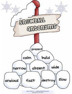 Snowball antonyms! FREE packet. Hands on antonym activities.