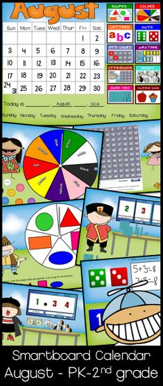 Your students will be so excited when they use the Circle Time SMARTBOARD Calendar for AUGUST. This calendar is in a kids theme. Whether you call this Morning Time, Circle Time, Carpet Time, Meeting Time, this calendar is fun, interactive, and educational.  This calendar includes so many Common Core essentials!  There are activities for reviewing days of the week, writing today's date, shapes, colors, writing words, using a 100s chart, fact families, money, base ten blocks, and more. $