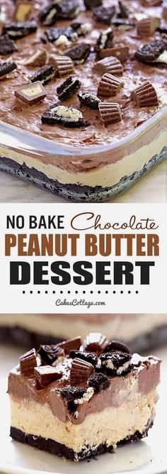 Cool and creamy, oreo, peanut butter and chocolate loaded dessert, perfect for summer and anytime you need an easy no-bake dessert.