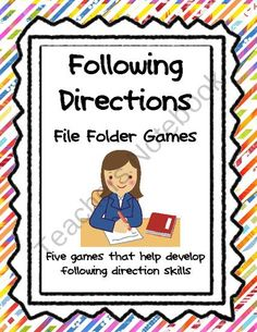 Following Directions File Folder Games product from Teacher-to-Teacher on TeachersNotebook.com
