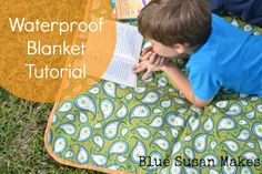 blueSusan makes: Soccer Mom Series: Waterproof Blanket Tutorial (I have lots of these vinyl flannel-backed tablecloths! Great idea to keep in the car!