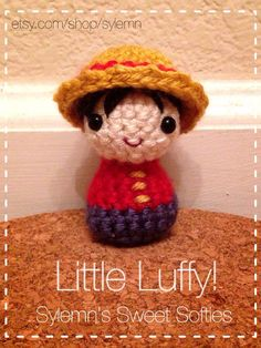 Tiny Chibi Monkey D. Luffy ONE PIECE Amigurumi Crochet by Sylemn, $1.99