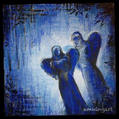 'Angels in blue' in mixed media