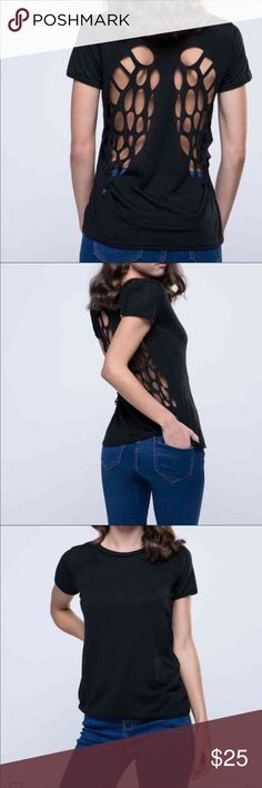 Black wing cutout tee New black t shirt with cutout wings in back Tops Tees - Short Sleeve