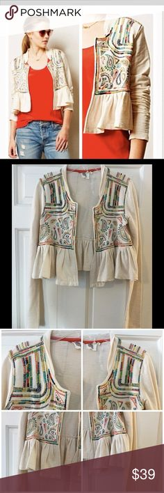 "Lilka Valle Embroidered Ltwt Peplum jacket Ivory Beautiful Cropped Anthro Peplum jacket with vibrant embroidery. 100% cotton; very soft. Machine wash.  Underarm across 19"". Length 19"". Excellent condition. EUC. Anthropologie Jackets & Coats"