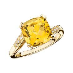 Bague Môme Je T'aime, or jaune, citrine et diamants - Mauboussin