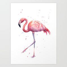 bird, flamingo, tropical, pink, watercolor, animals, painting, <br/> <br/> www.OlechkaDesign.com