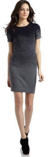 Cut 25 Grey/Black Cheetah Print Knit Sweater Dress