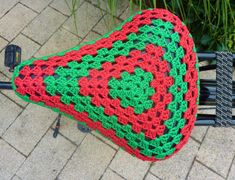Crochet bicycle seat cover bike seat cover by FromJeanne on Etsy Bike Seat Cover, Saddle Cover, Seat Covers, Freeform Crochet, Crochet Granny, Bicycle Seats, Yarn Bombing, Love Crochet, Crafty Craft
