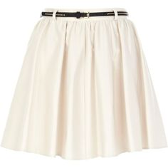 River Island Cream belted skater skirt (275 MXN) ❤ liked on Polyvore featuring skirts, bottoms, saias, jupes, skater skirt, reversible skirt, mini skater skirt, mini skirt and white flared skirt