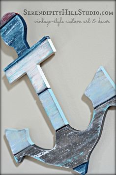 #Nautical planked #anchor #cottagedecor style by #SerendipityHillShop, colors/size - made to order. #serendipityhill