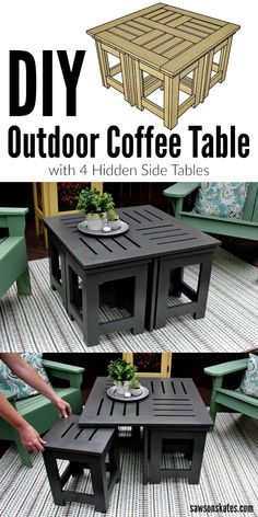Looking for ideas for an easy DIY outdoor coffee table? This plans shows how to make a small coffee table is perfect for a patio or deck plus it features four hidden side tables. Reach under the table pull out the four small side tables and you quadrupl Pallet Patio Furniture, Diy Garden Furniture, Furniture Plans, Furniture Decor, Furniture Design, Barbie Furniture, Modern Furniture, Furniture Layout, Rustic Furniture