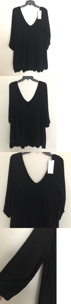Women Fashion: Nwt Tobi Women S Black Pleated V-Neck Tunic Dress, Size L -> BUY IT NOW ONLY: $45 on eBay!