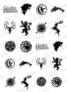 20-NAIL-DECALS-GAME-OF-THRONES-HOUSE-SIGIL-CRESTS-WATER-SLIDE-NAIL-DECALS