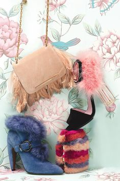 Fall 2013 Trend: Fancy That (Clockwise from top: Nina Ricci's suede and ostrich feather bag; Sonia Rykiel's marabou, velvet and Lucite shoe; Brian Atwood's mink clutch and Walter Steiger's suede and rabbit bootie.)