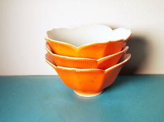 vintage Orange Lotus Bowls set of 3 by TheVintageApartment on Etsy, $13.00