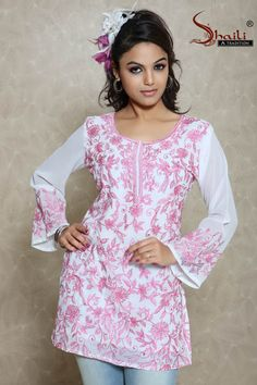 The White Pinky Attractive Designer Kurti Top by Snehal Creation